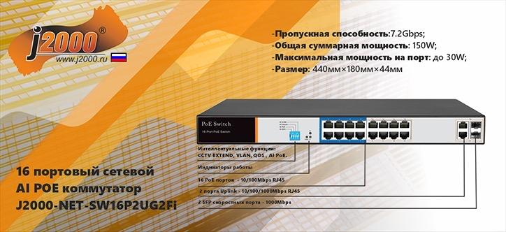 16 портовый AI PoE коммутатор - J2000-NET-SW16P2UG2Fi