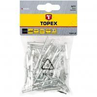Метизы Заклепки алюминиевые (4.0 мм x 8 мм) 50 шт. TOPEX 43E401
